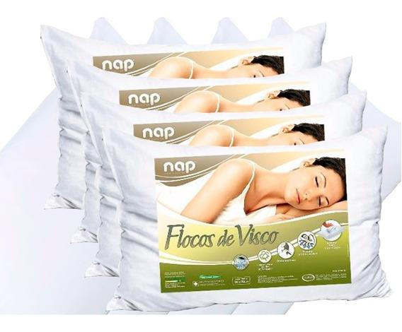 Kit 4 Travesseiros Nasa Flocos De Visco Nap