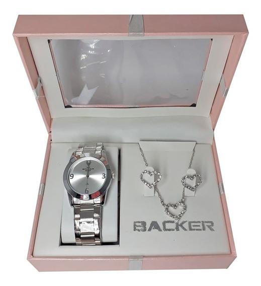 Kit Relógio Feminino Backer Prata + Semi Joia Ba39910025f