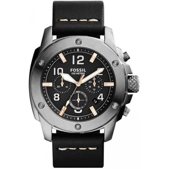 Relógio Masculino Fossil Fs5016 Couro Preto Original