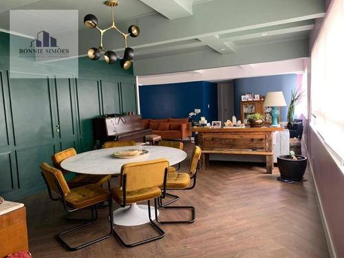 Apartamento À Venda Em Moema Mobiliado, 2 Dormitórios Sendo 1 Suíte, Sala Para 3 Ambientes, Escritório, 3 Banheiros, 1 Vaga, 130 M², São Paulo. - Ap1163