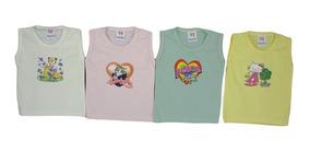 Kit Camiseta Bebê Regata Menina E Menino C/6 Unidade