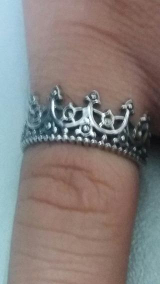 Anel Em Prata 925 Maciça Envelhecido Modelo Coroa Masculino