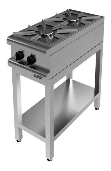 Anafe Industrial Brafh 2 Hornallas 360 Acero Inox Con Base