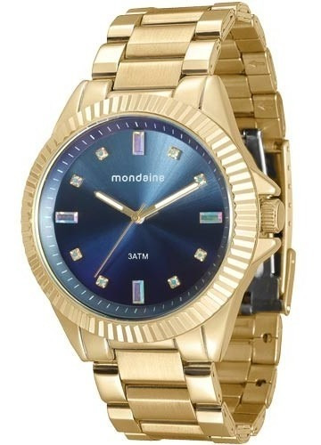 Relógio Mondaine Feminino Dourado/azul 76474lpmvde5