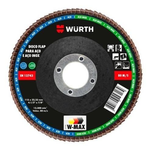 Imagem 1 de 4 de Disco Flap 4.1/2 Pol. 115mm Grão 120 Para Aço E Inox - Wurth