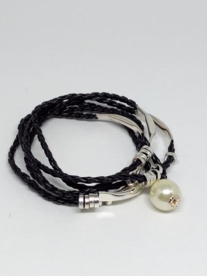 Pulseira Feminina Bracelete Couro Berloque Pérola Prata C835