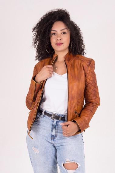 Jaqueta Feminina De Couro Legítimo De Carneiro Caramelo
