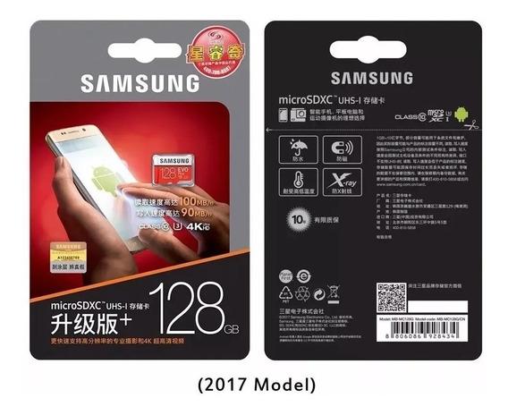 Cartão De Memória Samsung Evo Plus 128gb C10 U3 4k 100mb/s