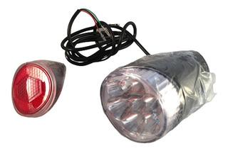 Luz Con Claxon Y Reflejante Trasero Bicicleta Electrica