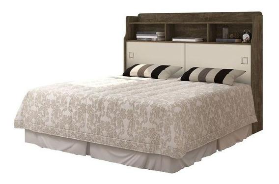 Cabeceira de cama box Cambel Móveis Jessica Queen 165cm x 123.5cm castanho wood/off white