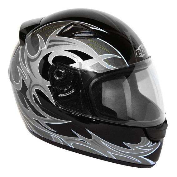 Capacete Moto New Spark Thor Ebf Preto E Prata Fechado