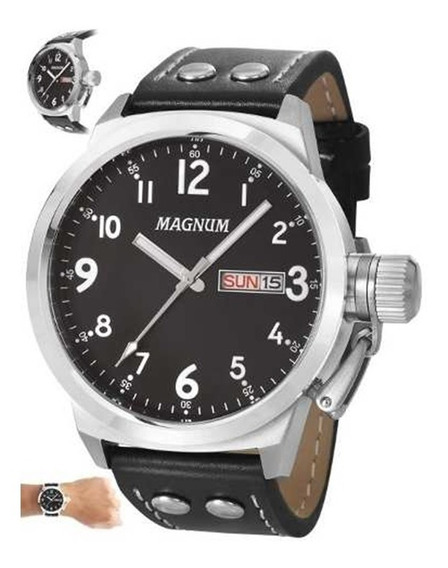 Relógio Masculino Magnum Pulseira De Couro Ma32774t - Oferta