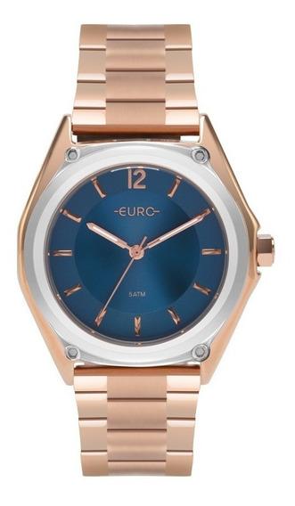 Relogio Euro Feminino Eu2035ypl/5a Rose Azul Analogico Ofert