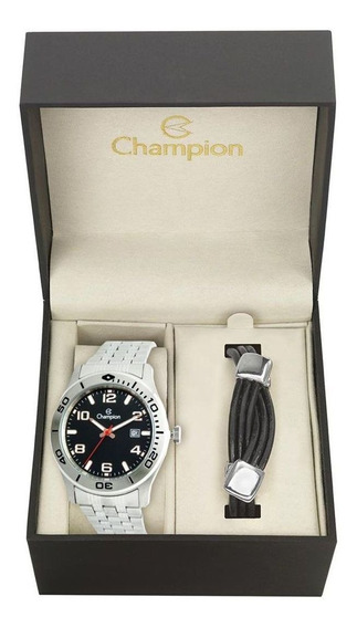 Kit Champion Relógio Masculino Com Pulseira Couro Ca31542c
