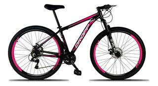 Bicicleta Aluminio Aro 29 Dropp 21v Preto Com Rosa