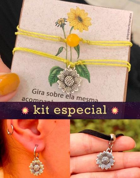 Kit Especial Girassol: 2 Pulseiras + Gargantilha + Brinco