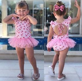 Maio Body Bebê Fantasia Flamingo Tutu Verão Menina Importado