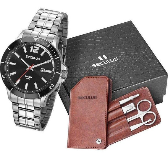 Kit Relógio Seculus Masculino 20609g0skna1k1