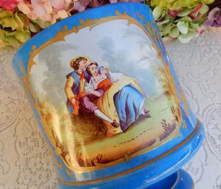 Maceta De Porcelana Francesa, Excelente, Azul Turquesa, 19 C
