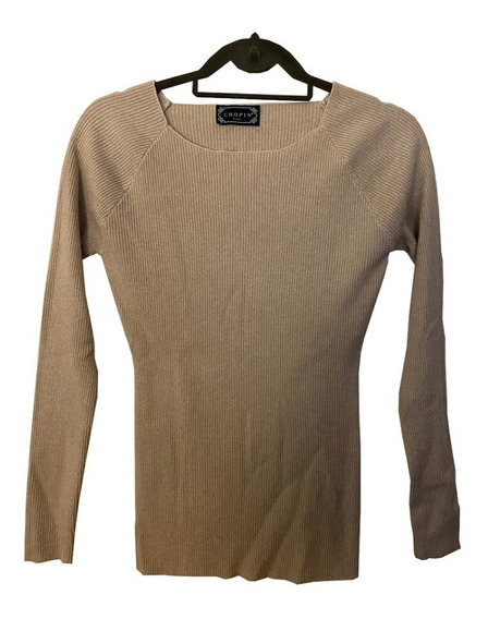 Sweater Pullover Canalé Camel Y Dorado Importado Chopin Roma