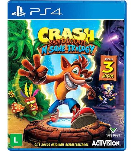 Jogo Crash Bandicoot N' Sane Trilogy  Ps4 Midia Fisica