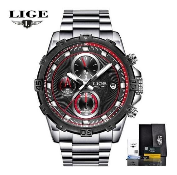 Relógio Lige Importado De Luxo Aço Cronos Todo Funcional