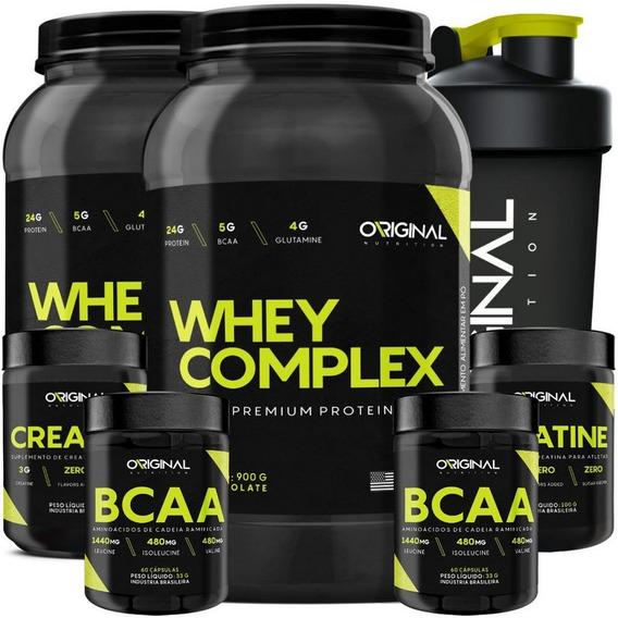 Kit 2x Whey Complex + 2x Bcaa + 2x Creatina + Shaker