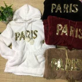 Blusa De Frio Feminina Pelinho Pelúcia Paris Capuz