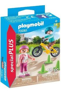Playmobil 70061 Niños Con Bicicleta Y Patines Original