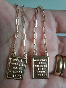 Escapulario 15microns Ouro 18k 60cm