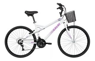Bicicleta Mobi Caloi Ventura Aro 26 21 Velocidades Branca Bike Aro 26 Caloi Com Cesto Envio Imediato Cod.390