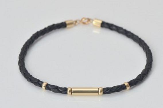 Promoção Pulseira Bracelete Couro Com Ouro 18k Várias Cores.