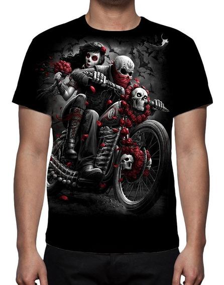 Camisa, Rock Caveira Motoqueiro Fantasma 02 - Estampa Total