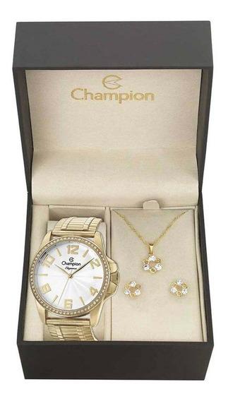 Relógio Champion Elegance Feminino Cn27821w + Folheado 18k