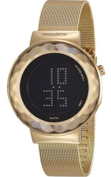 Relógio Mondaine Feminino Dourado Led Slim 32006lpmvde1 Garantia E Nota Fiscal
