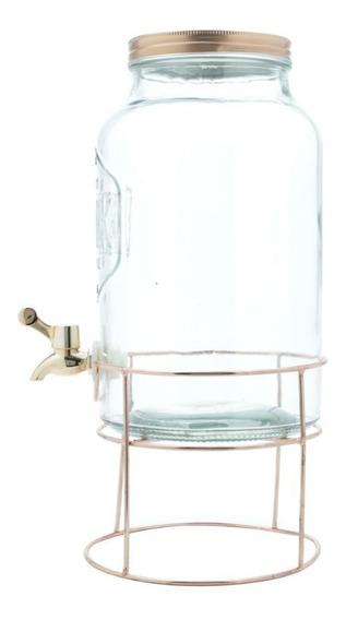 Suqueira Dispenser Cristal Suporte Metal Cobre 22x22x41 5,6l