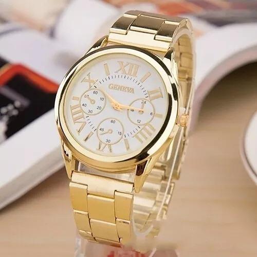 Relógio Geneva Aço Dourado!!!