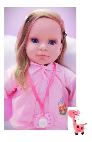 Imagem 1 de 8 de Bebe Reborn Boneca Menina Realista 23 Itens Linda Girafinha
