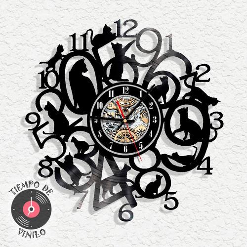 Reloj De Pared Gatos Ref.02 Elaborado En Disco Lp