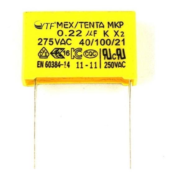 Capacitor X2 Polipropileno Segurança 0,22uf 275vac 40/100/21