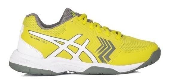 Tenis Asics Gel Dedicate 5 A Amarelo Cinza E Branco