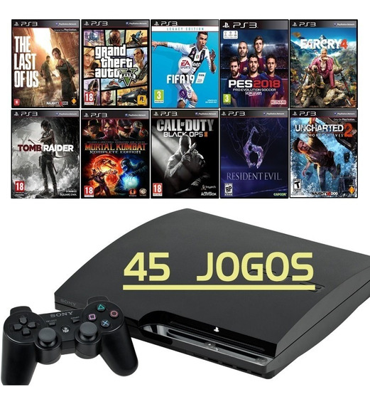 Ps3 Slim + Fifa 19 + Gta5 + God Of War + Total 45 Jogos