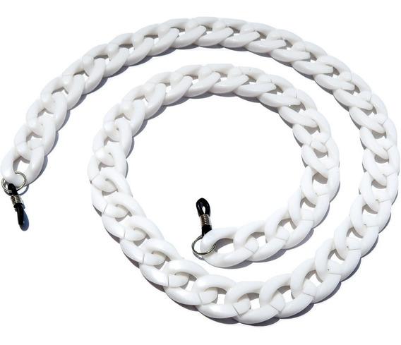 Collar Sujetador De Lentes De Sol Y Lectura Acrilico Blanco
