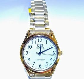 Relógio Q&q Dourado Fundo Branco - Vw48-004y