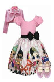 Vestido Boneca Lol Surprise + Sapatilhas + Bolero + Tiara