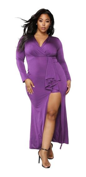Vestido Largo Talla Extra Con Abertura Y Escote 610892