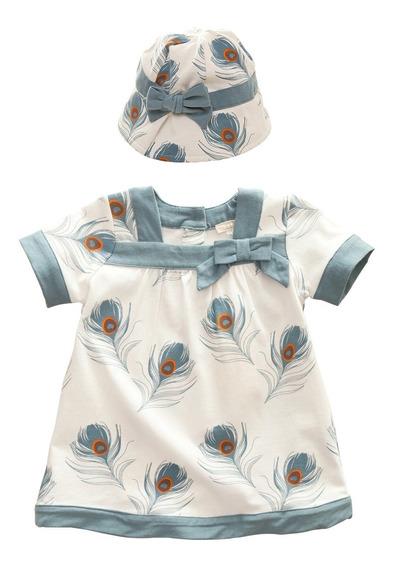 Vestido Con Gorro Bebé Niña Plumas Menta 2 Años