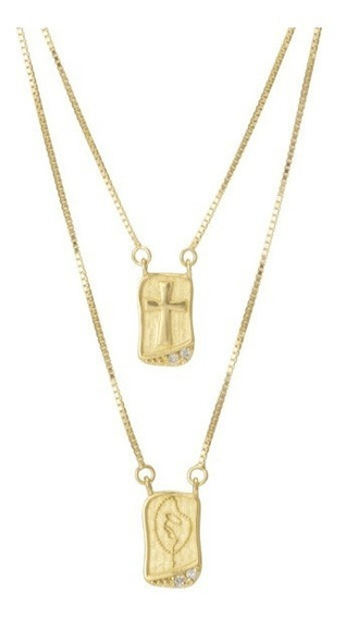 Escapulário Virgem Maria 4 Brilhantes 100% Ouro 18k