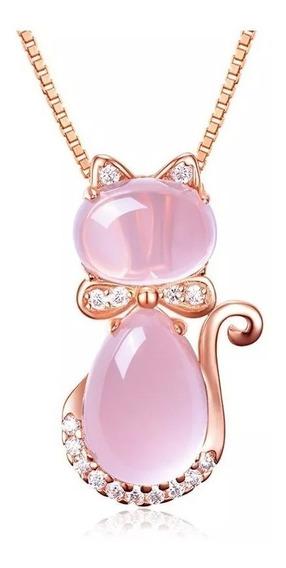 Collar Dije Gato Cristal Oro Rosa Laminado Bisutería
