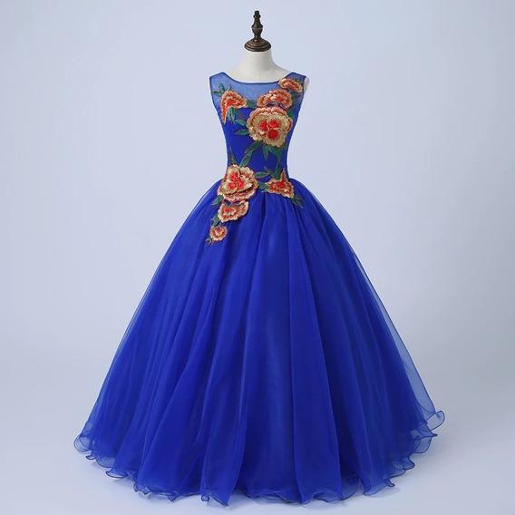 Vestido Quinceañera Barato Quinceaños Bordado Azul Rey